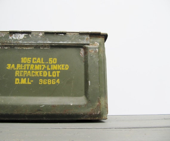 Vintage Industrial Decor Military Cartridges Metal Box