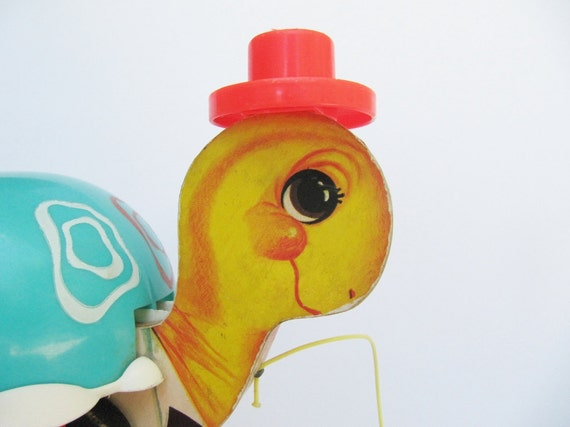 Vintage Fisher Price Pull Turtle Toy in Bright Colors