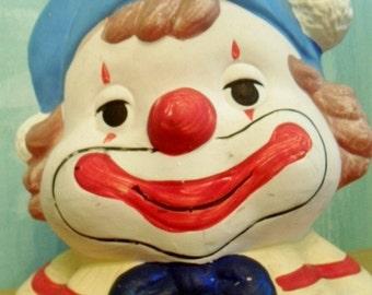 Vintage Ceramic Clown Coin Bank 1970s