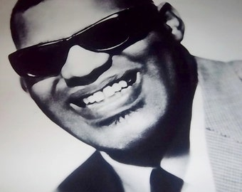 Vintager Black and White Ray Charles Framed