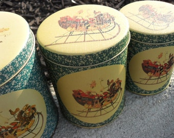 Vintage Collectible 3 Piece Christmas Stackable Metal Canister Set 1960s