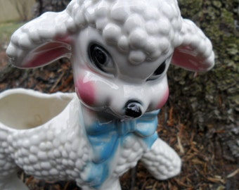 Adorable Vintage Lamb Planter Baby Blue Ribbon Cute face 1950s