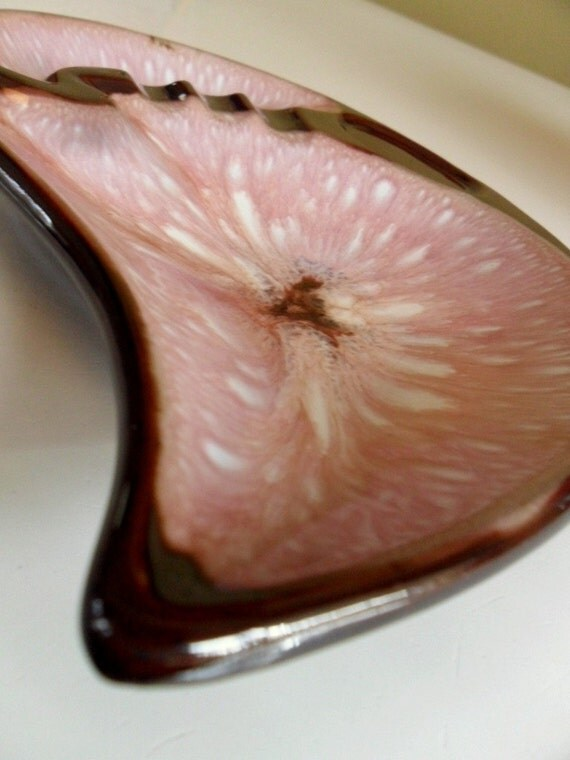 Vintage Retro Tear Shaped Pink and Brown Ashtray 1970s