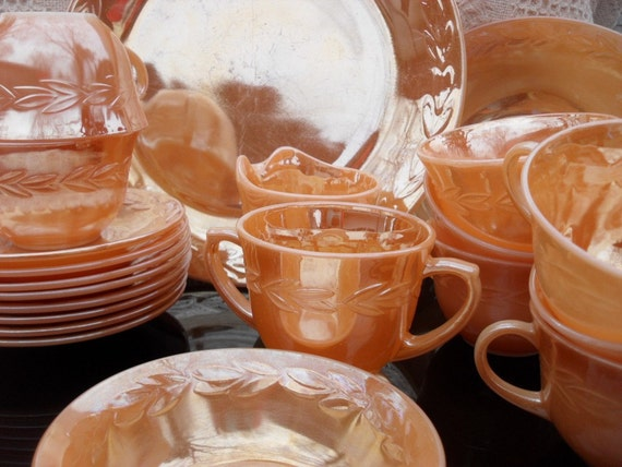 21 Pieces of Peach Luster Ware by Fire King Ovenware, Fruit Bowl, Serving Platter,  Cream and sugar, 8 cups, 8 saucers