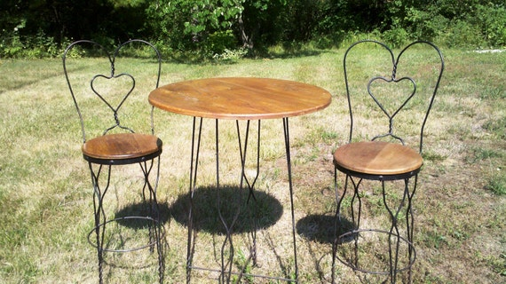 Antique Ice Cream Parlor High Table and Chairs
