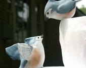 Tufted Titmouse Love Birds handmade wedding cake topper