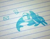 Hand Carved Dolphin Mail Carrier Rubber Stamp
