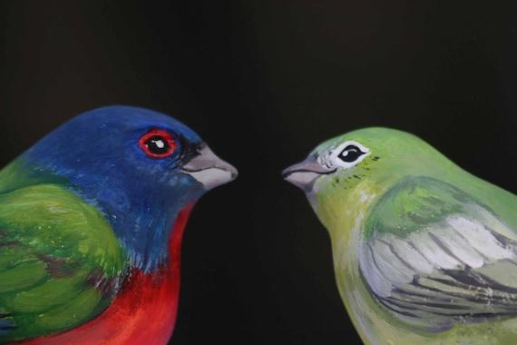 Handmade Painted Bunting Love Birds Cake Topper