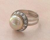 Vintage Faux Pearl Rhinestone Silver Adjustable Ring. Ava