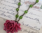 Pink Red Carved Vintage Style Rose Flower Green Bead Necklace- Peyton's Rose
