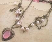 Vintage Glass Pink Heart Crown Pearl Filigree Necklace. Royal Princess