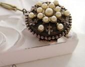 Necklace. Jewelry, Vintage, Four Photo Locket, Pearls, Fleur de Lis, Keepsake, Antique Brass, Sentimental. Isabella. Vintage inspired jewelry by Lauren Blythe Designs on Etsy.