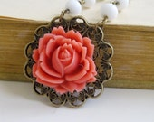 Jewelry. Necklace, Rose, Flower, Vintage Rhinestone, White Beaded Chain, Coral. Cassandra.