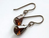 RESERVED Smoky Topaz Earrings Rhinestone Earrings Glass Jewels Autumn Estate Style - Cognac