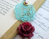 Wine Rose Necklace Verdigris Lace Filigree Cameo Locket Flower Necklace - Antebellum