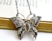 Butterly Necklace Vintage Rhinestone Brooch Pin Necklace Art Deco Style Gunmetal Chain ready to ship - Night at the Opera