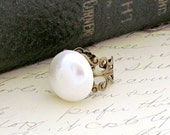 White Pearl Cocktail Ring Vintage Style Antique Brass Filigree - Dusted Pearl