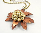 Copper Flower Necklace Vintage Flower Necklace Bohemian Necklace Pearl Necklace Beaded Necklace Long Necklace - Harlow