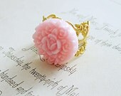 SALE Pink Flower Ring Vintage Style Flower Cluster Cottage Chic Pastel Gold Filigree Bridesmaid Ring Gift Under 25 - Pink Dreams