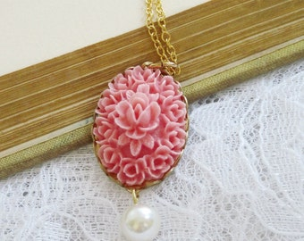 Pink Flower Necklace, Pearl Necklace, Pink Cameo Necklace, Vintage Style, Gold Chain, French Inspired, Bridesmaid Gift - Luxe