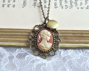 Cameo Jewelry, Vintage Cameo Necklace, Victorian, Keepsake, Locket Necklace, Rose, Lace Pendant - Cameo Rose