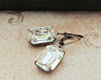 Vintage Rhinestone Earrings Glass Jewels Emerald Cut Clear Crystals Estate Jewelry Mid Century April Birthstone Gift Idea for Her