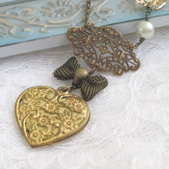 Necklace. Jewelry, Vintage Heart, Country French, Victorian, Brooch, Pin, Bow, Crystal, Pearl. Embrace.