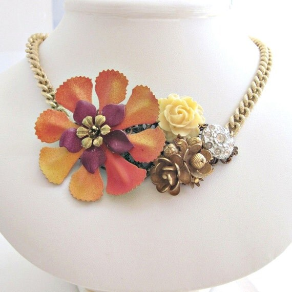 Necklace. Autumn Vintage Flowers,  Gold Rose Rhinestone Button, Vintage Monet Chain. At Last. Vintage inspired jewelry by Lauren Blythe Designs on Etsy.