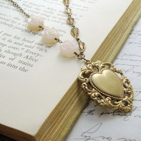 Necklace. Jewelry,  Stamping, Heart, Brass, Lace, Peach, Jade, Flowers.  Unchained Heart.