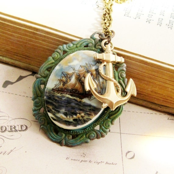 Nautical Vintage Ship Cameo Necklace Art Deco Necklace Brass Anchor Stamping Ornate Verdigris Setting - Now Voyager