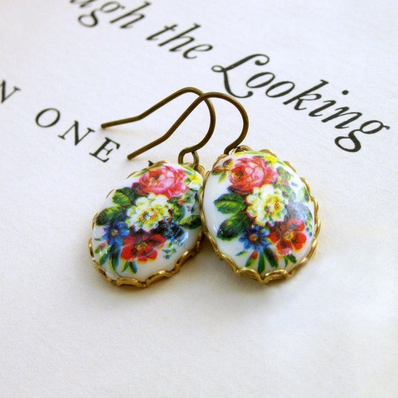 Vintage Cameo Earrings Flower Floral Shabby Chic - Emmaline