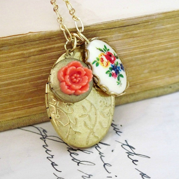Gold Floral Locket Oval Locket Necklace Vintage Locket Floral Cameo Charm Necklace Cherry Blossom christmasinjuly - Aubrey