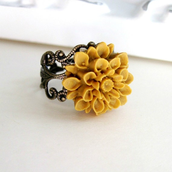 Mustard Yellow Flower Ring Dahlia Flower Vintage Style Ring Cocktail Ring Filigree Ring Bridesmaid Gift - Butternut Dreams