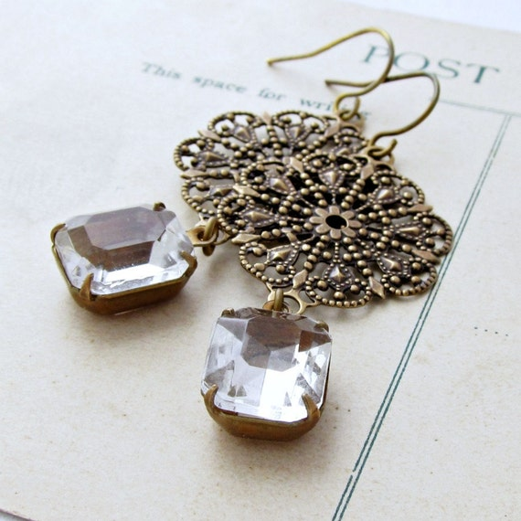 Filigree Earrings, Rhinestone Earrings, Rustic,  Antique Brass, earrings for bride, wedding day