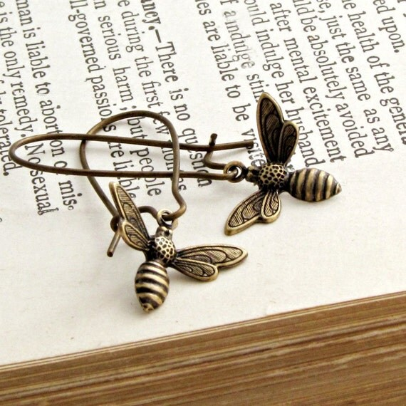 Bee Earrings, Bee Charms, Rustic, Honey Bee, Brown, Nature, Gift Under 25 - Sweet as Honey