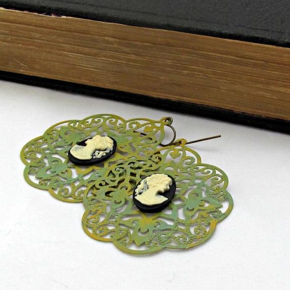 Cameo Earrings Green Filigree Earrings Lace Earrings Cameo Jewelry Bohemian Earrings Silhouette Jewelry - Laced in Silhouette