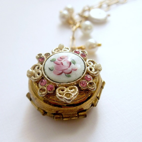 Vintage Locket Necklace Guilloche Locket Four Photo Locket Gold Filled Chain French Shabby Chic - Parisian Keepake