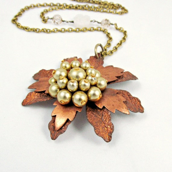 Copper Flower Necklace Vintage Flower Necklace Bohemian Necklace Pearl Necklace Beaded Necklace Long Necklace - Harlow