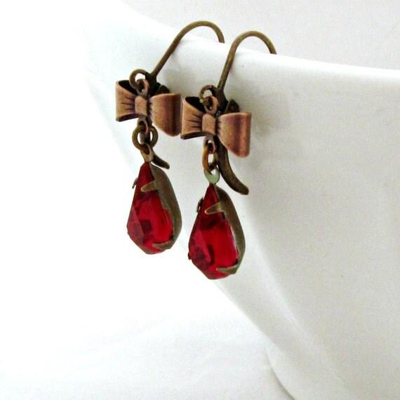 Red Rhinestone Earrings Ruby Earrings Bow Earrings Old Hollywood Style Garnet Earrings January Birthstone