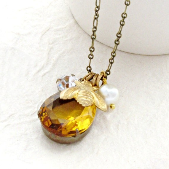 Bee Necklace Topaz Necklace Brass Bee Charm Necklace Honey Gold Necklace Long Necklace - Honey Deux