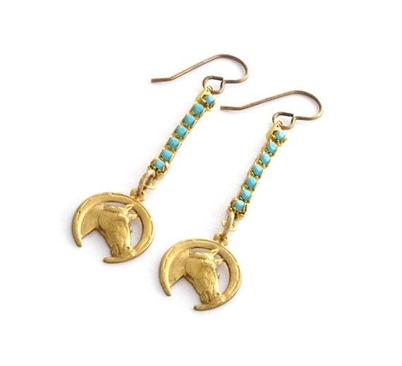 Horse Earrings Turquoise Earrings Vintage Horse Earrings Rhinestone Earrings Southwest Jewelry - Sundance Sparkle