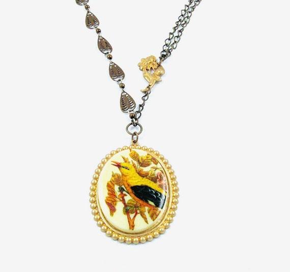 Cyber Monday Etsy Jewelry Bird Necklace Vintage Bird Cameo Necklace Brass Gold Art Deco Filigree Chain Boho Flight - Woodland Flight