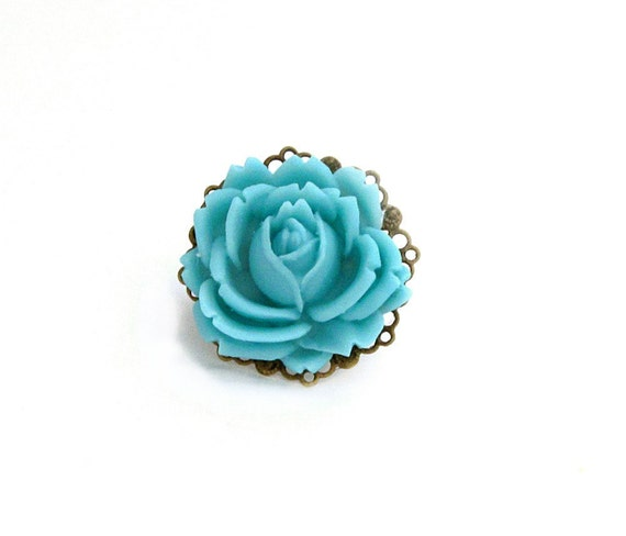 Turquoise Flower Ring, Blue Flower Ring, Nautical, Cocktail Ring, Beach, Sea, Statement Ring - Turquoise Bloom