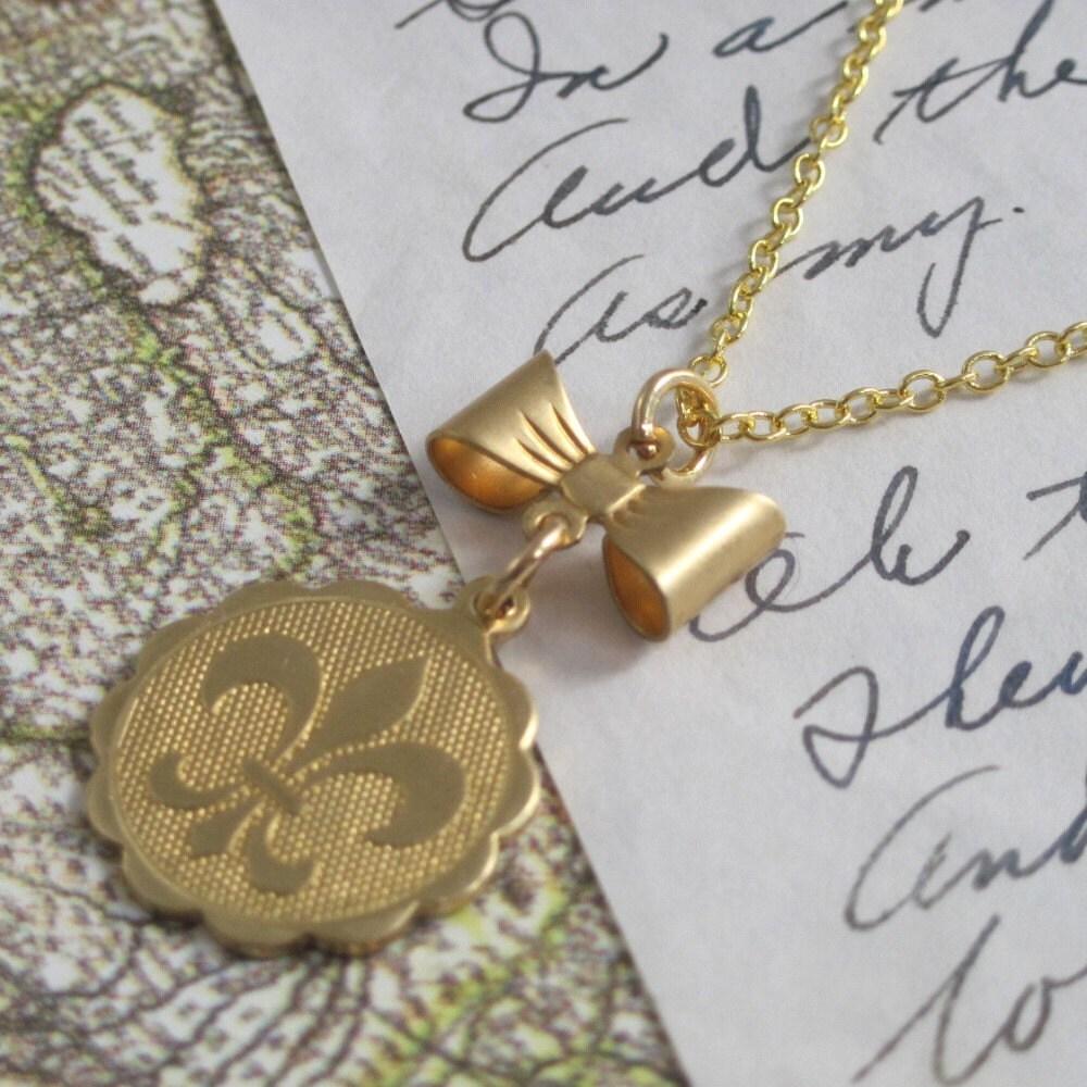 Fleur De Lis Charm Bracelet: Necklace. Jewelry Fleur De Lis Bow Charm French Brass