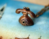 a Vintage Copper Telephone necklace