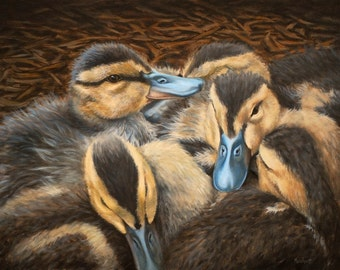 Painting Print Pile o' Ducklings, Print of an Oil Painting by L. Merchant, 11x14 inches