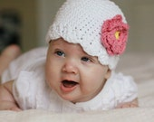 3-6 Months Crochet Flapper Beanie White with Pink and Yellow flower on a side. So Cute