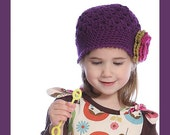 2T-4T Plum Flapper Beanie with Mustard Gold and Fuchsia Flower. So Adorable.