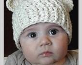 6-12 Months Chunky Monkey Crochet Flapper Beanie Cream with Ears. So Cute.