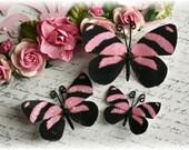 Retro Pink Butterflies for Scrapbooking, Cardmaking, Tag Art, Altered Art, Mini Album